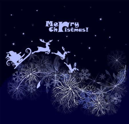 Vector illustration of Santa sleigh flying over night village Illusztráció