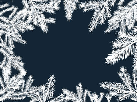 Frame of spruce twigs. Vector illustration