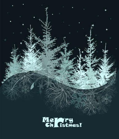 Merry Christmas. Winter forest. Vector illustration Ilustrace