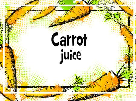 Vintage label with carrots.Vector illustration background for design