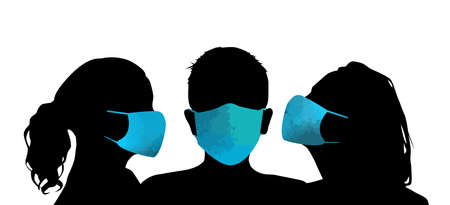 Set of silhouettes of men and women in medical masks, protection from covid 19, in spring, autumn and winter outerwear, standing in different poses, business people, vector illustration, black color Illusztráció