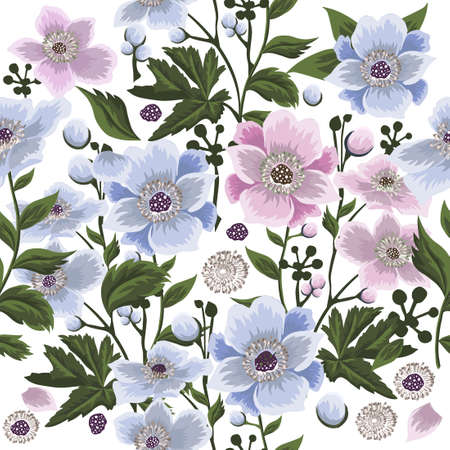 A seamless background with beautiful pink and blue flowers. Vector illustration Ilustração