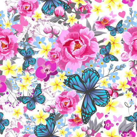 A seamless background with red and blue flowers and leaves. Vector illustration Illustration