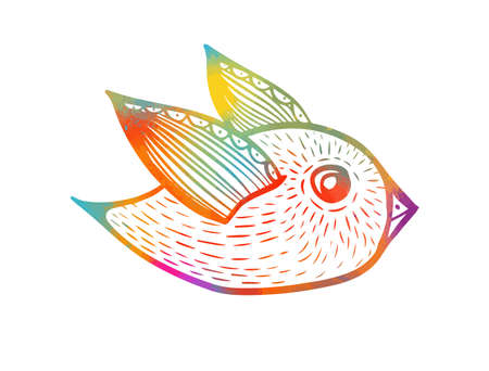 A multi-colored decorative bird. Vector illustration