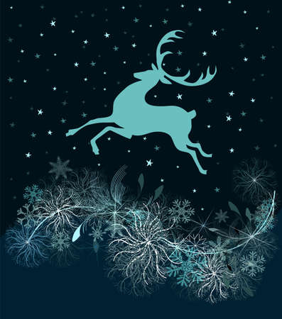 Christmas running deer with snowflakes. Vector illustration