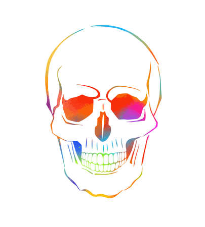 two multi-colored skulls