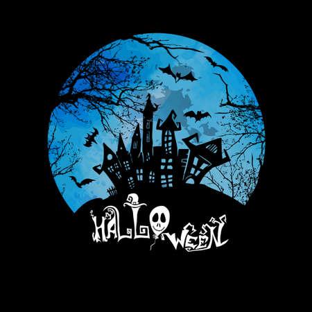 Ancient castle and moon. Flying bats. Happy Halloween. Vector illustration