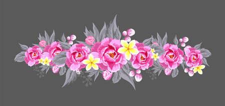 Peony flower on white background. Vector background for your design Illusztráció