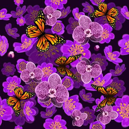 Vector seamless background with orchids Illusztráció