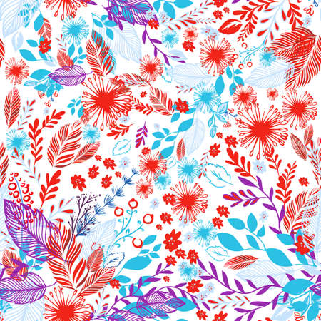 A seamless background with red and blue flowers and leaves. Vector illustration Illusztráció
