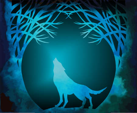 Halloween background with werewolf howling in moonlight Vector Illustration