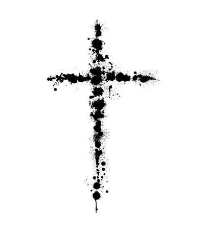 Vector banner or illustration on the religious theme. Abstract black cross with splashes, drips and inscription INRI Vectores