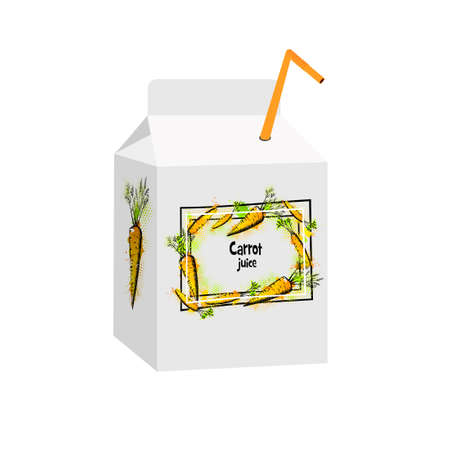 A bag of juice. Tetrapack with milk. Vector illustration