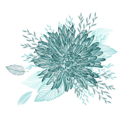 Abstract blue flower. Vector