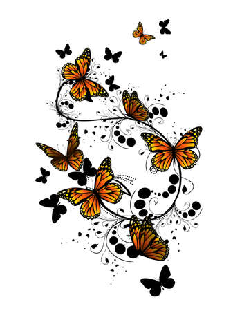 Flower abstraction with butterflies. Vector Illustrated