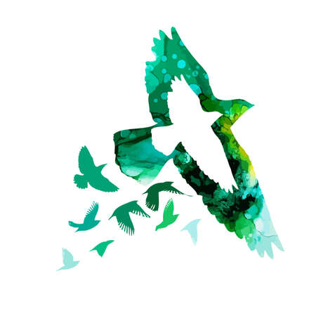 Bird abstract watercolor silhouette. Vector