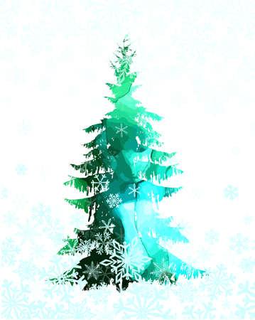 Watercolor scenic spruce. Vector illustration