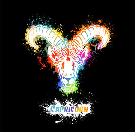 Capricorn is the sign of the zodiac. The goat's head. Print on a T-shirt. Vector illustration