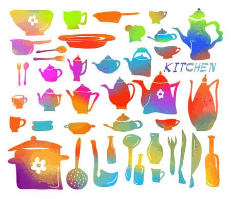 A set of multi-colored kitchen utensils. Vector illustration Çizim