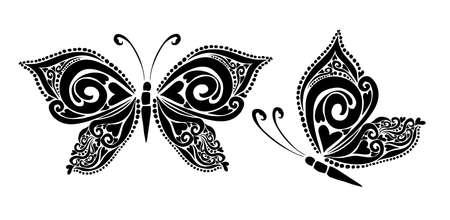 Butterfly decorative tattoo. Black Butterfly from patterns. Vector illustration Illusztráció
