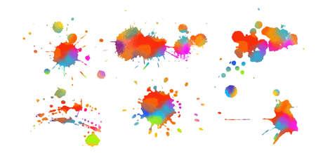 Set Multi-colored spots of paint on a white background. Grunge frame of paint. Mixed media. Vector illustration. Illusztráció