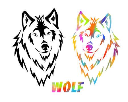 Wolf face logo emblem template mascot symbol for business or shirt design. T-shirt print. Mixed media. Vector Vintage Design Element.