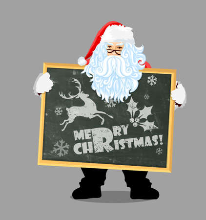 Congratulations from Santa Claus. New Years greetings. Merry Christmas. Vector illustration