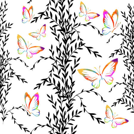 Seamless monochrome floral background with multicolored butterflies. Vector illustration