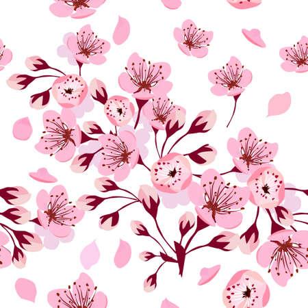 A seamless background of sakura. Vector illustration Illusztráció