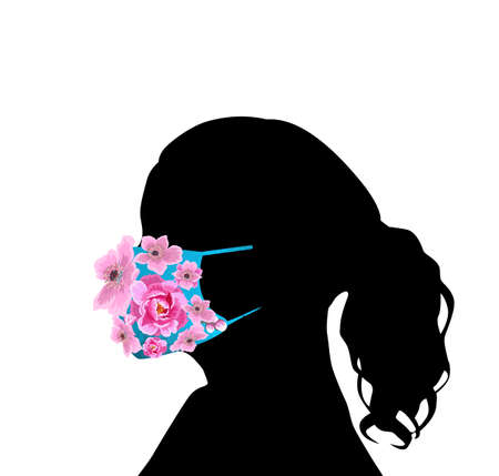 Girl in a mask made of flowers. Vector illustration