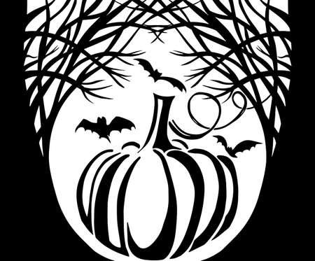 pumpkin black silhouette. Happy Halloween. Vector illustration