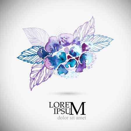 Beautiful violet-blue watercolor flower with leaves. Vector illustration
