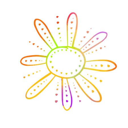 Symbol bright colorful funny sun. T-shirt print. Decorative stylized flower. Mixed media. Vector Illustration.