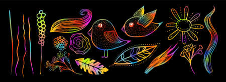 Set of decorative flowers leaves and birds. Multicolored pattern. Mixed media. Vector illustration Stock fotó