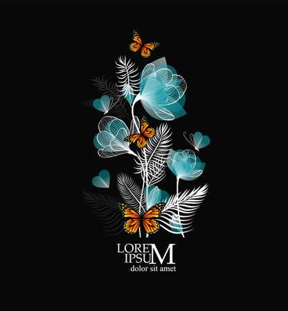 Beautiful blue flowers from lines with butterflies. Vector illustration Illusztráció