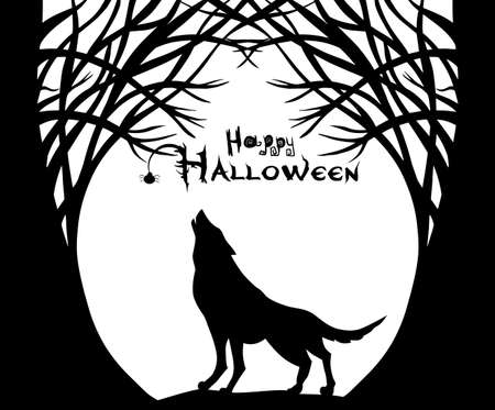 The wolf is howling at the moon. Happy Halloween. Vector illustration