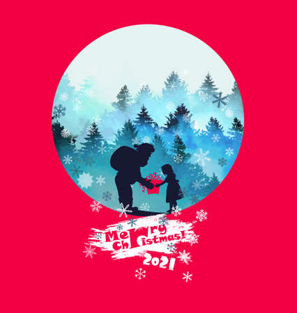 Winter forest. greeting card. Santa Claus gives a gift to the girl. Merry Christmas. Happy New Year 2021. Mixed media. Vector illustration