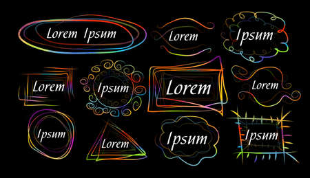 A set of colored frames of lines. Vector illustration Stock fotó