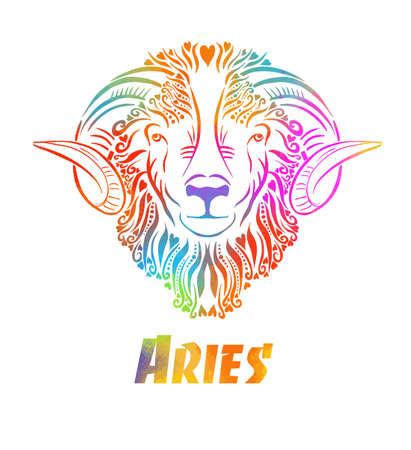 Zodiac signs - Aries colored . T-shirt print. Vector illustration. Mixed media