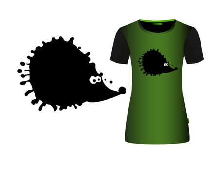 Black hedgehog from the blot. A monochrome abstract hedgehog. T-shirt print. Vector illustration
