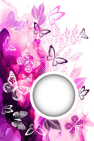 White butterflies on a watercolor Violet background. Round frame for text. With love. Vector
