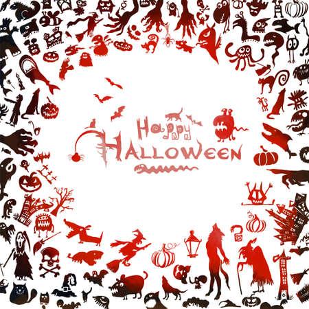 A large set of Halloween elements. Vector illustration