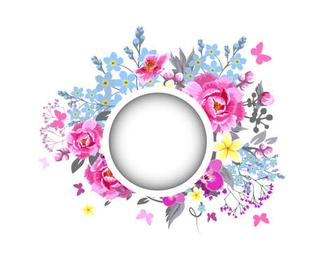 Beautiful floral frame with pink flowers. Vector illustration