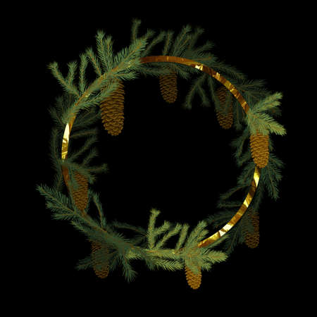 Round frame made of fir branches with cones.