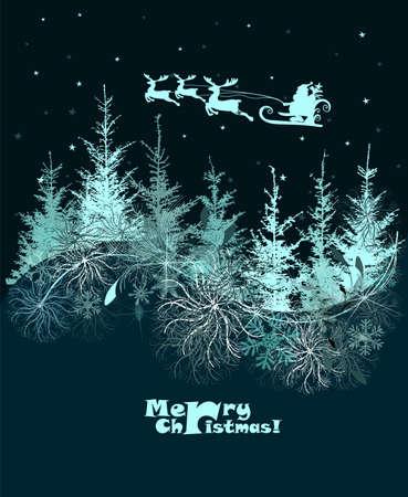 Vector illustration of Santa sleigh flying over night village Çizim