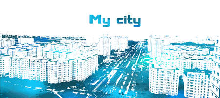 vector city scape, urban scene with grunge background