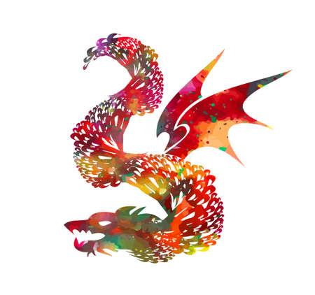 Red graphic dragon. Vector illustration Stock Illustratie