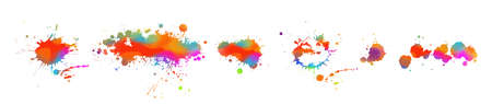 Multi-colored spots of paint on a white background. Grunge frame of paint. Mixed media. Vector illustration.