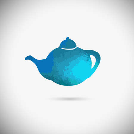 Teapot isolated on abstract background and multicolor dripping paint. Vector illustration / logo / label / tattoo