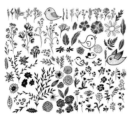 A set of monochrome floral elements. Vector illustration Vettoriali